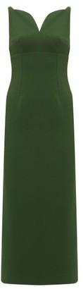 Emilia Wickstead Mathilda Sweetheart-neckline Crepe Midi Dress - Dark Green