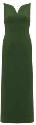 Emilia Wickstead Mathilda Sweetheart-neckline Crepe Midi Dress - Womens - Dark Green