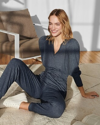 Express Cozy Puff Sleeve Lounge Jumpsuit