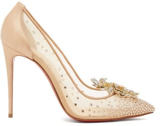 Christian Louboutin Marenude 100 Crystal-embellished Mesh Pumps - Womens - Beige Multi