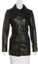 Calvin Klein Pointed Collar Leather Jacket