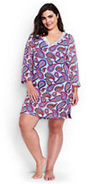 Classic Women's Plus Size Embroidered Woven Tunic Cover-up-White/Eletric Blue Paisley