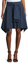 Halston Mini Flounce Skirt w/ Sash, Dark Denim