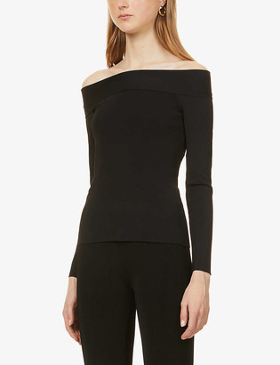 Victoria Beckham Off-the-shoulder ribbed stretch-knit top