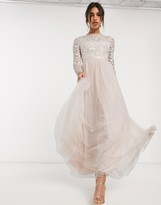 Needle & Thread embellished maxi dress with tulle skirt in blush