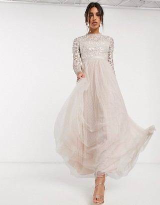 Needle & Thread embellished maxi dress with tulle skirt in blush-Pink