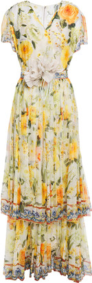 Dolce & Gabbana Tiered Floral-appliqued Printed Silk-chiffon Gown
