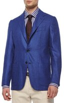 Kiton Cashmere Check Two-Button Blazer, Light Blue