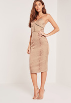 Missguided Snake Textured Midi Dress Brown
