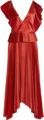 AMUR Liliana Plisse Peplum Dress