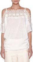 Agnona Off-Shoulder Knit Lace Top, White