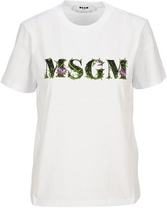 MSGM Floral Logo Print T-Shirt