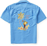 "Caribbean Short-Sleeve Embroidery ""Polly Wants a Drink"" Shirt"