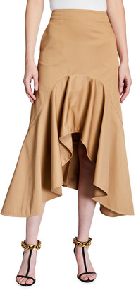 Givenchy High-Low Ruffle Midi Skirt