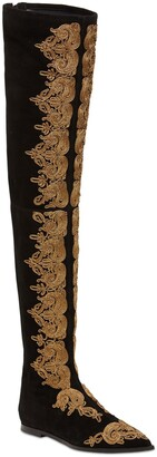 Etro 10mm Embroidered Suede Tall Boots
