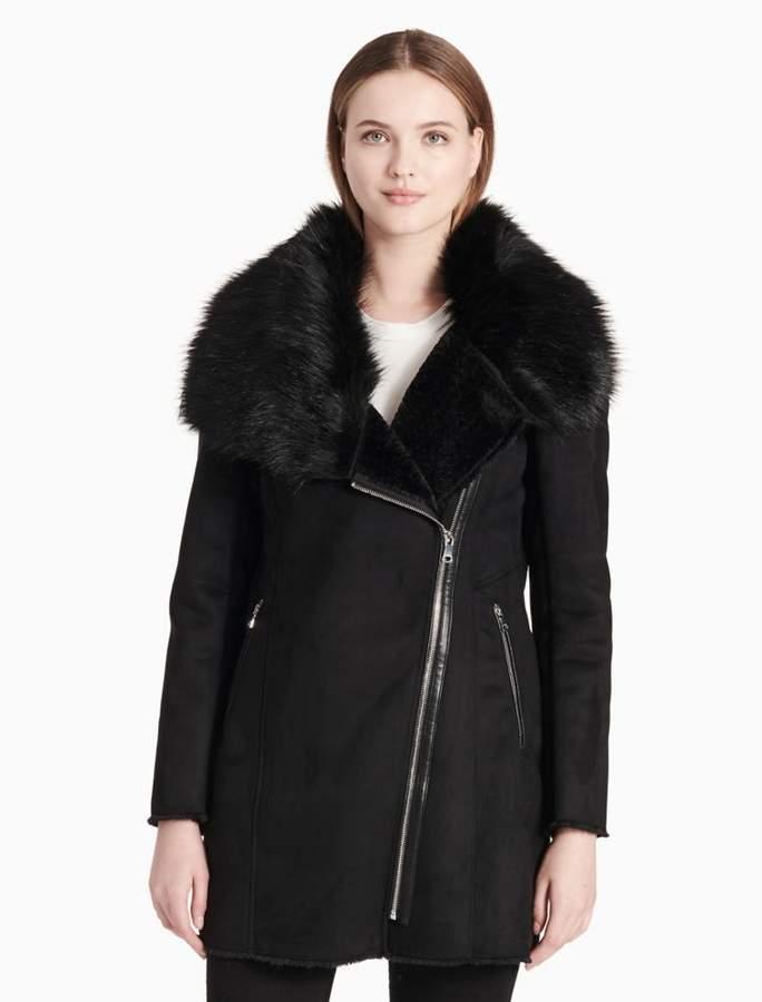 Calvin Klein faux shearling asymmetrical zip jacket