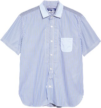 Junya Watanabe Dobby Stripe & Chambray Button-Up Shirt