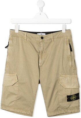 Stone Island Junior Logo Cargo Shorts