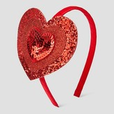 Cat & Jack Girls' Sequin Heart Headband Cat & Jack - Red One Size