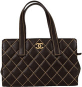One Kings Lane Vintage Chanel Brown Contrast Stitching Tote