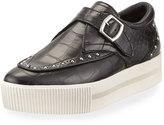 Ash Kony Bis Crocodile-Embossed Platform Sneaker, Black