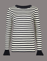 Autograph Pure Wool Striped Flared Cuff Jumper