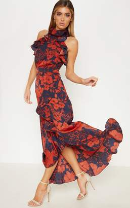 PrettyLittleThing Navy Floral Print Frill Detail Wrap Maxi Dress