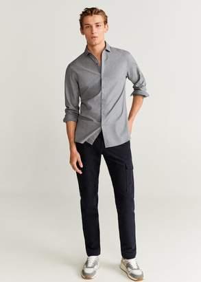 MANGO MAN - Slim fit polka-dot cotton shirt grey - XXS - Men