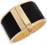 Kenneth Cole New York Gold-Tone Faux Leather Pavé Hinged Bangle Bracelet