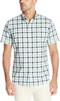 Izod Men's Short Sleeve Medium Plaid Dockside Chambray Shirt