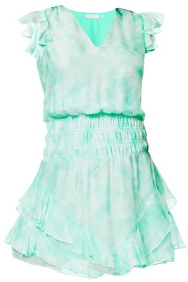 Ramy Brook Tie-Dye Smocked Waist Mini Dress