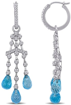 Miadora 14k White Gold Blue Topaz & 3/5ct TDW Diamond Chandelier Drop Earrings - 50mm x 13.5mm x 14mm - 50mm x 13.5mm x 14mm
