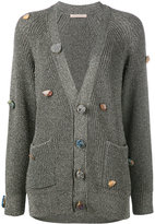 Christopher Kane gemstone buttoned cardigan - women - Viscose/Metallic Fibre - S