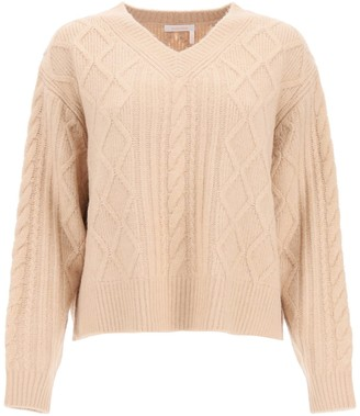 See by Chloe V-Neck Cable Knit Jumper