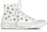 Converse Limited Edition Chuck Taylor All Star Hi White Sneakers w/Stars and Studs