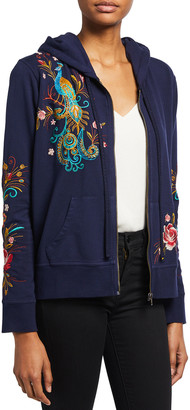 Johnny Was Plus Size Shula Embroidered Modern Zip-Up Hoodie
