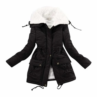 Celucke Women's Casual Drawstring Jacket Winter Cashmere Cotton Coat Cotton Clothes Turn-Down Collar Overcoat Black