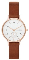 Skagen Women's Anita Leather Strap Watch, 34Mm