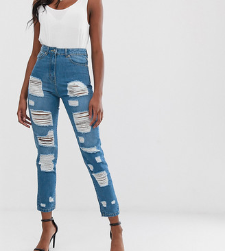 Parisian Tall high waisted jeans with extreme distressing detail-Blue
