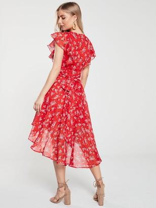 Very Wrap Dip Back Woven Tea Dress - Red Print