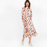 Paul Smith Women's Light Pink Silk Midi Dress With 'Feather' Print