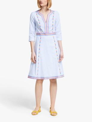 Boden Catherine 3/4 Sleeve Stripe Midi Dress, Blue/Ecru Ticking