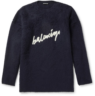 Balenciaga Oversized Logo-Embroidered Brushed Cotton-Blend Sweater