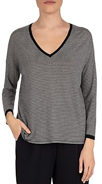 Gerard Darel Striped V-Neck Wool Top