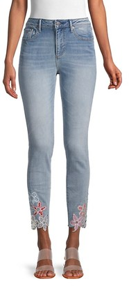 Driftwood Floral-Trim Whiskered Jeans