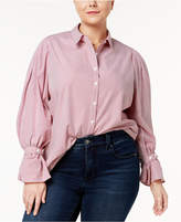 Soprano Trendy Plus Size Cotton Pinstriped Blouse
