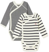 Petit Bateau Pack of 2 newborn baby boy striped bodysuits