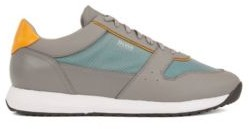 BOSS Retro-inspired trainers in faux leather with transparent trims