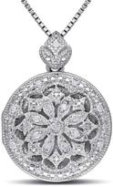 Ice Julie Leah Sterling Silver Locket Pendant Necklace with Diamond Accents