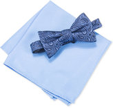 Countess Mara Men's Lurex Paisley Bow Tie and Solid Pocket Square Set